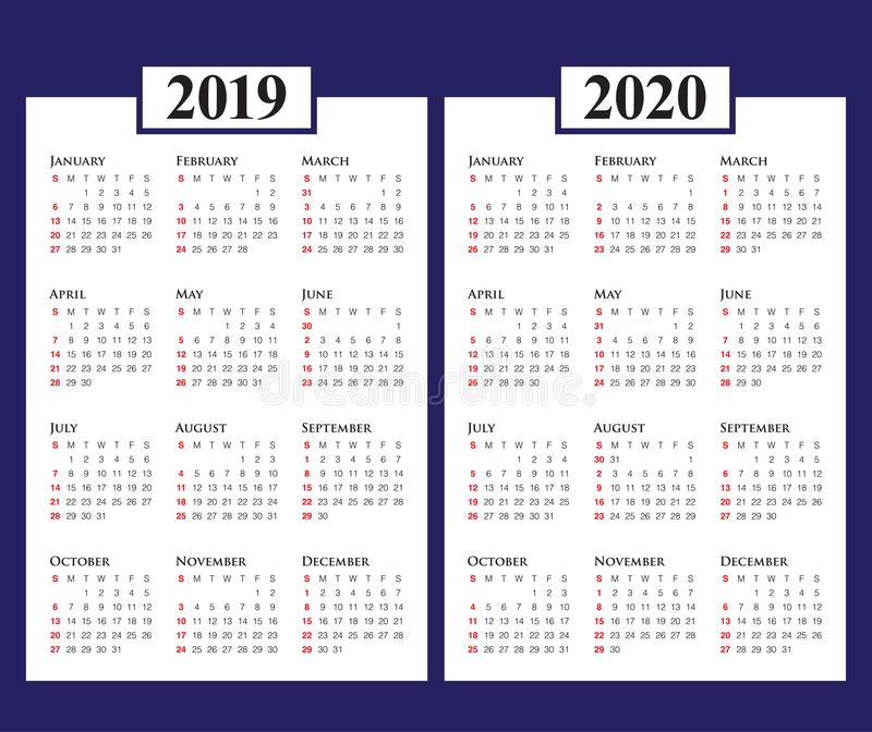 年2019 2020本日历传染媒介设计模板. 日期, 日历.