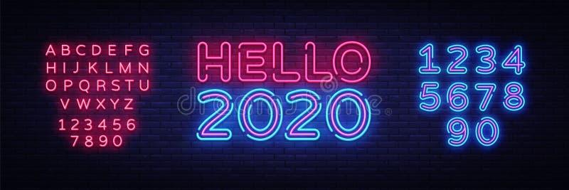 2020年Hello霓虹符号矢量图 新年快乐霓虹招牌,设计模板,现代潮流设计,夜间招牌,夜间 免版税库存照片