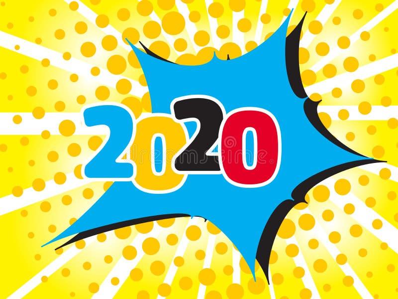 2020年Popart泡影讲话与可笑的作用的动画片背景 库存例证