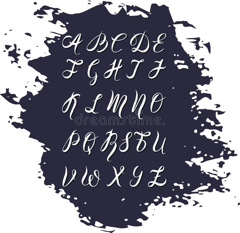 并且由刷子笔的被画的字体,水彩字母表,在深蓝污点的大写字母 皇族释放例证