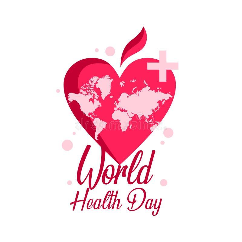 幸福世界与红心标志的健康天 向量例证