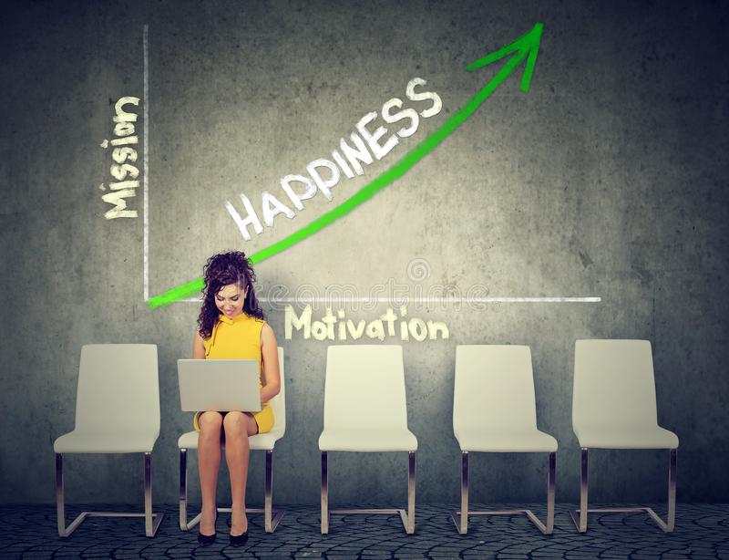 幸福和自我实现概念 使用在机会图表成长背景的妇女膝上型计算机 免版税库存图片