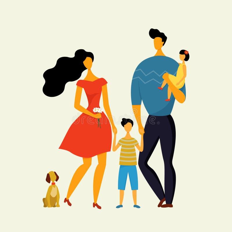 幸福家庭、父亲、遛狗的母亲、儿子和女儿在夏天 向量例证