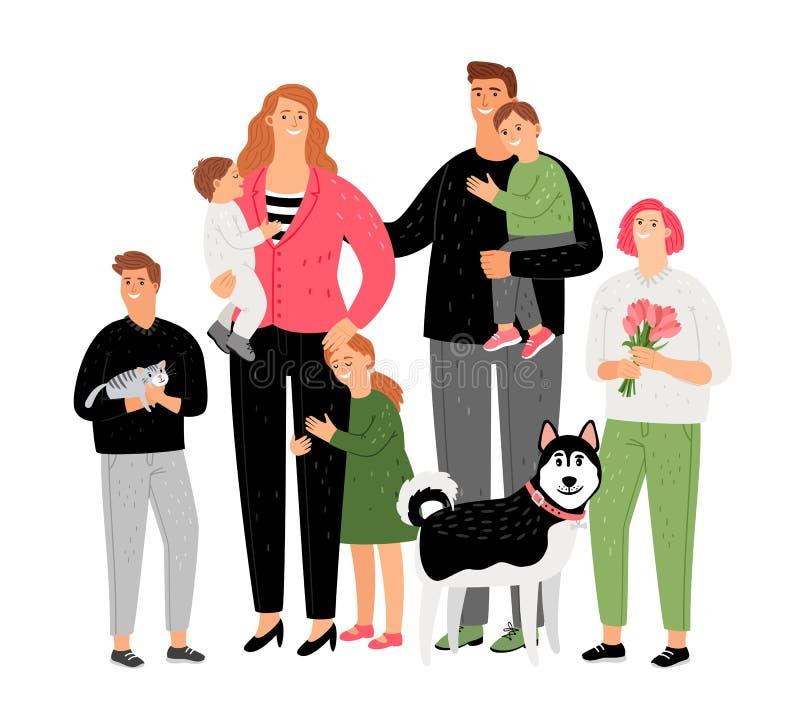 幸福家庭、父母有孩子的和宠物 库存例证