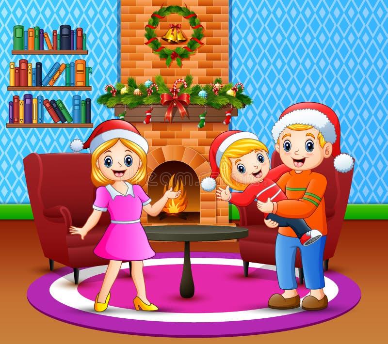 幸福家庭动画片在客厅 向量例证