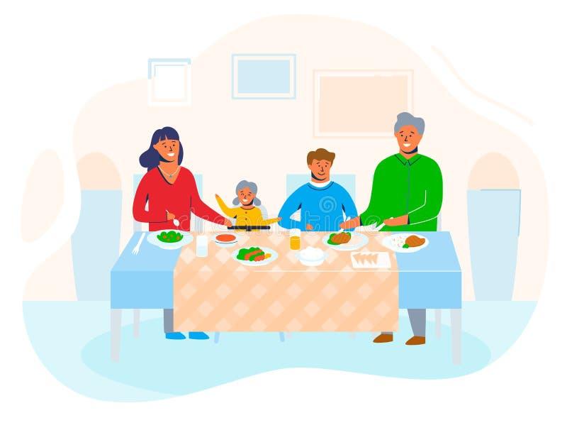 幸福家庭在家有坐在桌上的孩子的吃食物和互相谈话 人漫画人物 库存例证