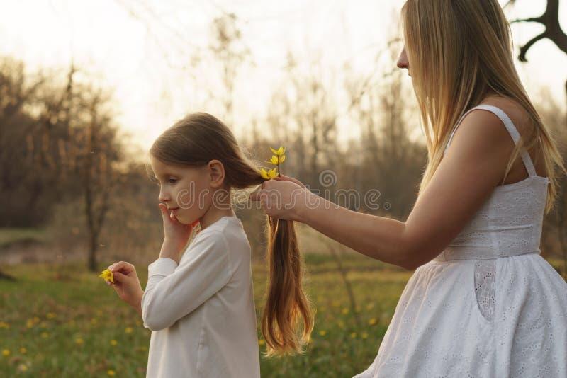 幸福家庭在春天草甸走 免版税库存图片