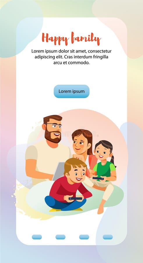 幸福家庭家庭休闲网横幅模板 库存例证