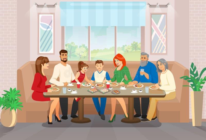 幸福家庭庆祝和消遣时间生活片刻 库存例证