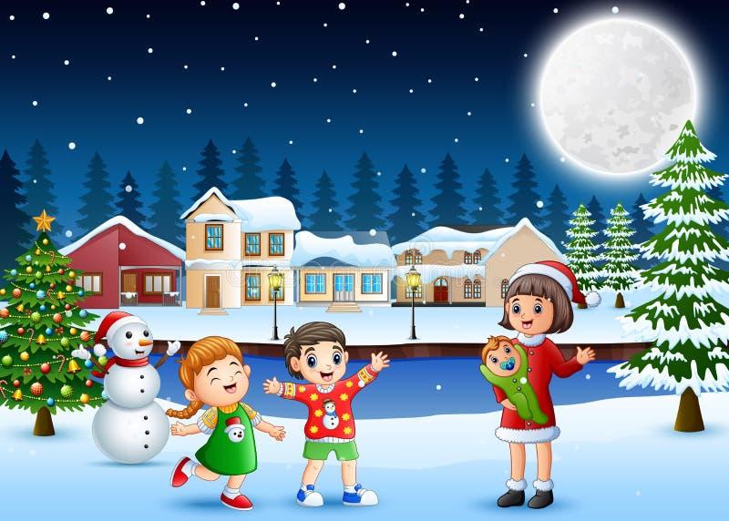 幸福家庭庆祝每户外圣诞节 库存例证