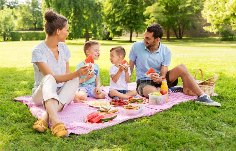 幸福家庭有野餐在夏天公园 库存图片