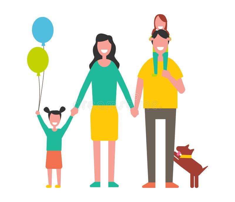 幸福家庭母亲、父亲两女儿和狗 库存例证