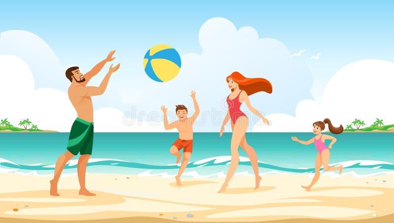 幸福家庭海上的暑假悠闲时间 皇族释放例证