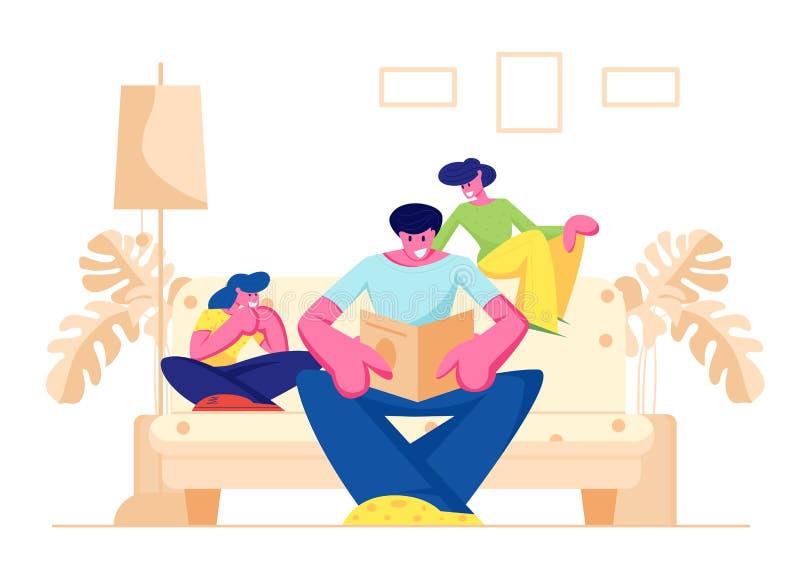 幸福家庭消费有孩子的时间在家一起,父母,父亲看书、母亲和女儿坐沙发 库存例证