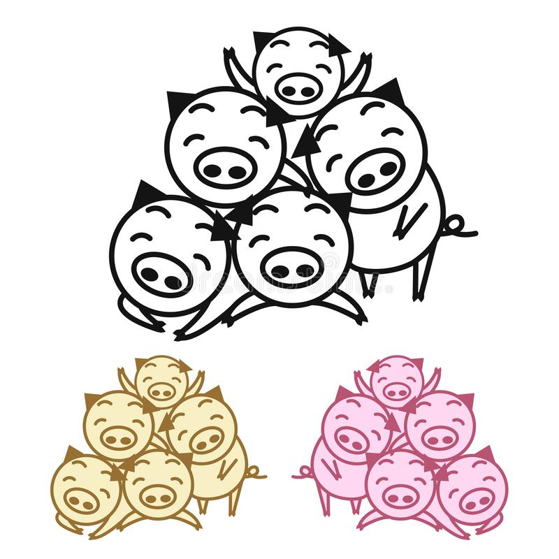 幸福家庭猪 猪的年 也corel凹道例证向量 向量例证