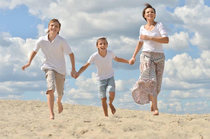 幸福家庭画象海滩的在夏日 免版税库存图片