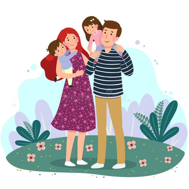 幸福家庭获得乐趣一起在公园 有两个孩子的父母 皇族释放例证
