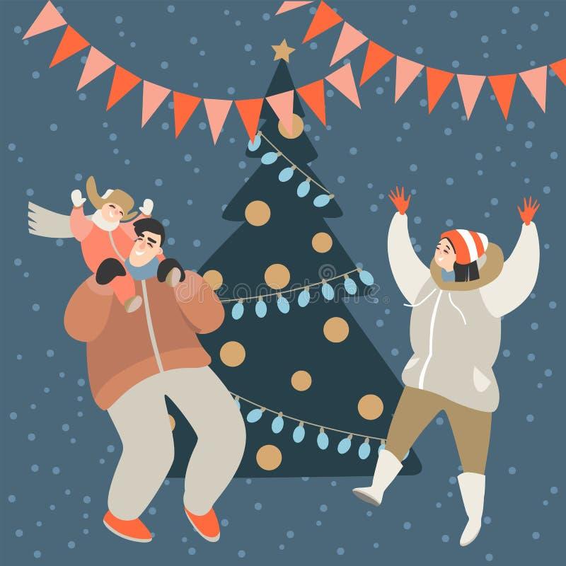 幸福家庭获得乐趣在圣诞树 库存例证