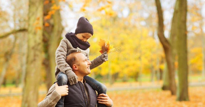 幸福家庭获得乐趣在秋天公园 免版税库存照片