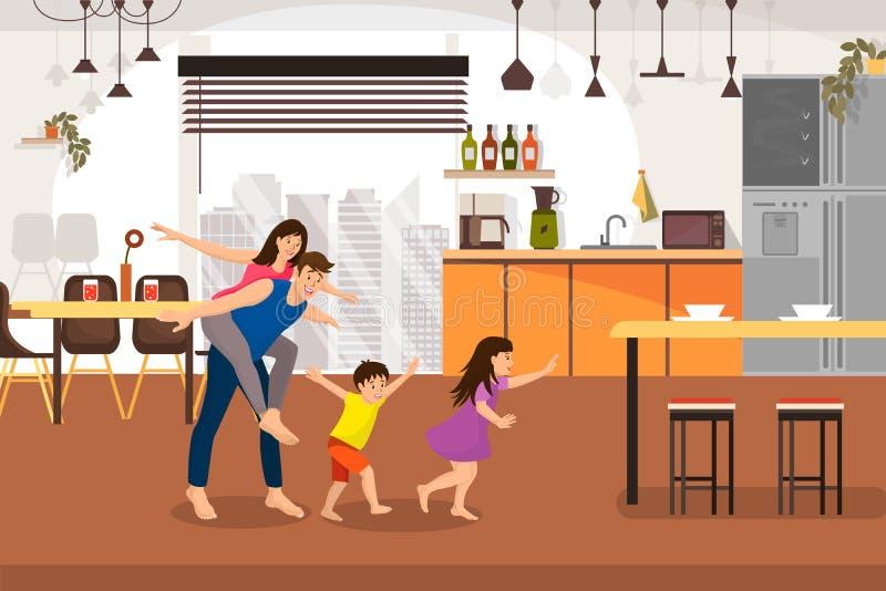 幸福家庭购买新的家庭动画片传染媒介概念 向量例证