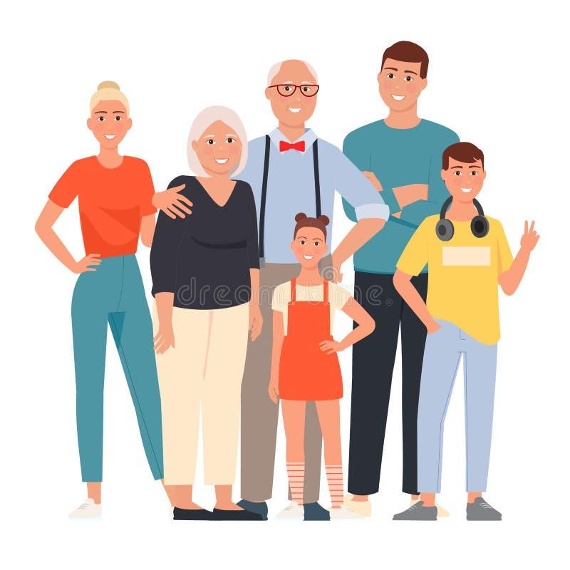 幸福家庭 父亲、母亲、祖母、祖父和孩子 图库摄影