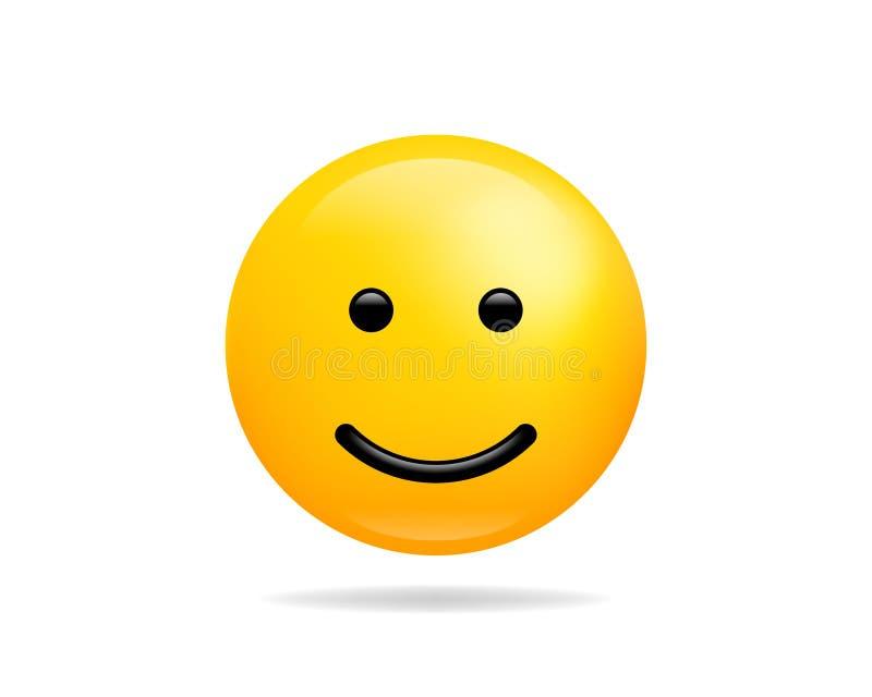 幸福微笑象传染媒介标志 兴高采烈的面孔黄色卡通人物 皇族释放例证