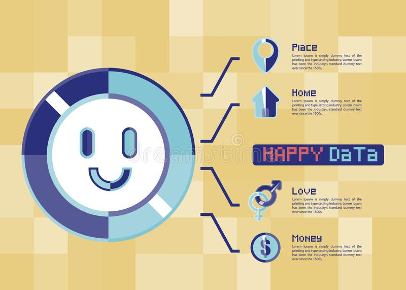 幸福象导航图的,图表,介绍,图,企业概念infographic模板 皇族释放例证