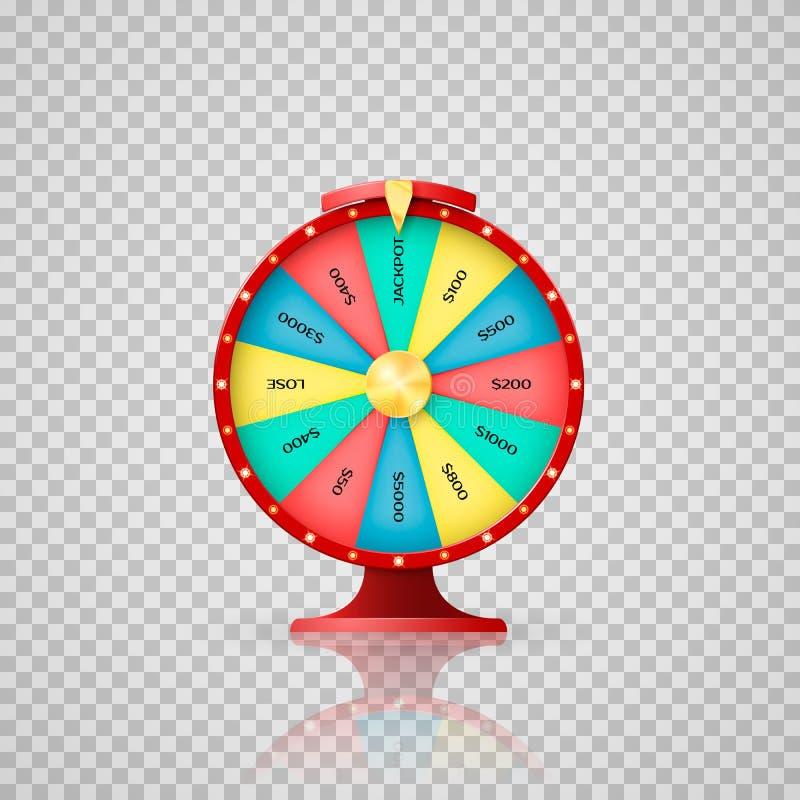 幸运抽奖优胜者的Jeckpot标志 赌博娱乐场,抓阄转轮对困境的箭头点 在透明backgr的传染媒介例证 向量例证