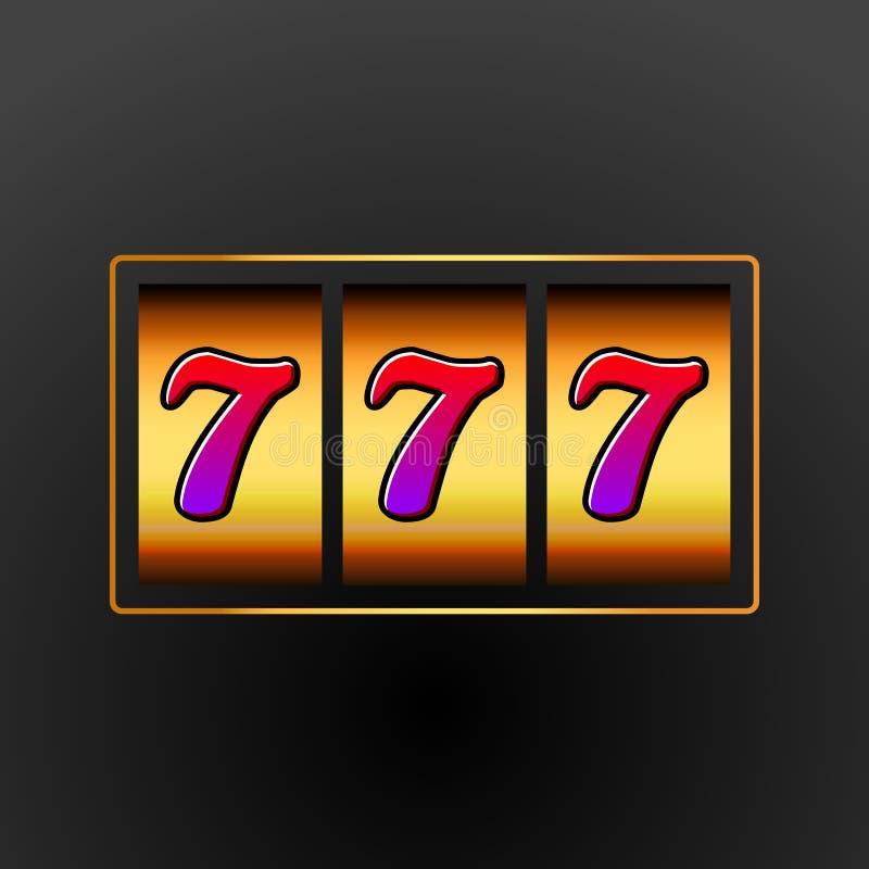 幸运的七777老虎机 赌博娱乐场维加斯比赛 赌博的时运机会 胜利困境金钱 向量例证