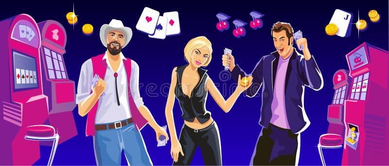 幸运的妇女举行赌博娱乐场切削,当转动roulete时 幸运的人举行金钱 内部赌博娱乐场-老虎机,椅子,轻的项目 库存例证