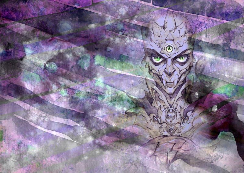幻想一个奇怪和阴险爬虫类生物的画象例证 皇族释放例证