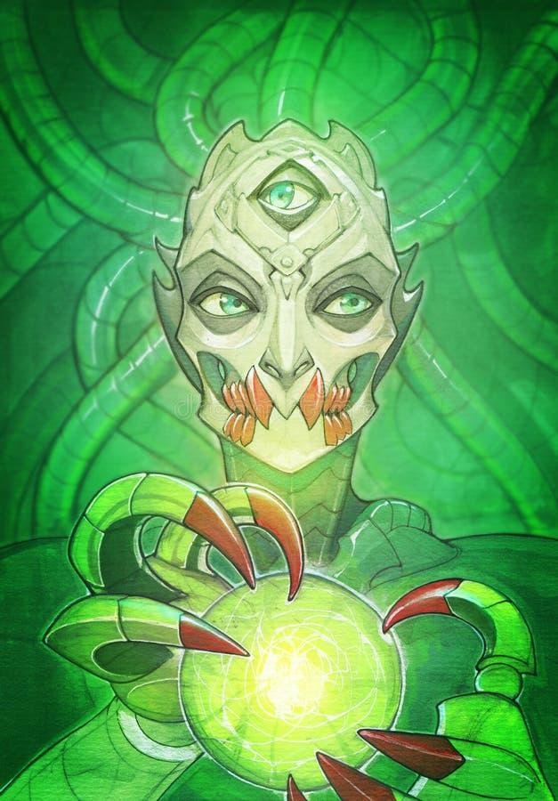 幻想一个邪恶,可怕和阴险机械生物的画象例证 皇族释放例证