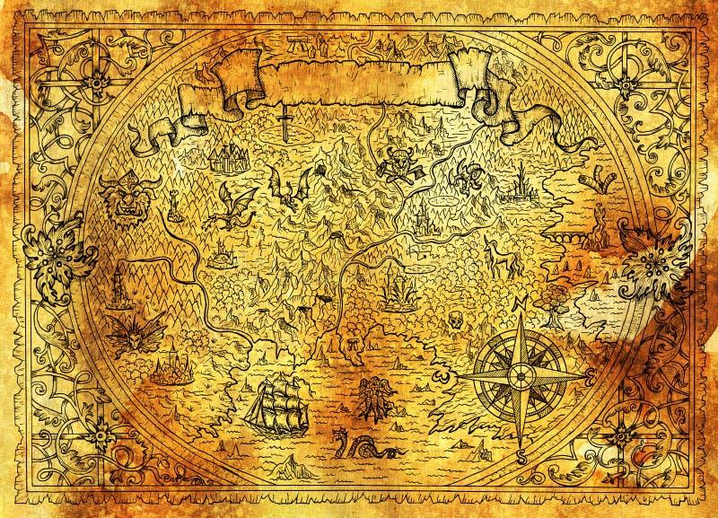幻想世界金黄地图与龙,海盗船,美人鱼,矮子,在蓝色的恶鬼的 向量例证