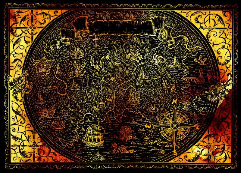 幻想世界,指南针,美人鱼,在黑色的龙金黄地图集地图与海盗的 皇族释放例证