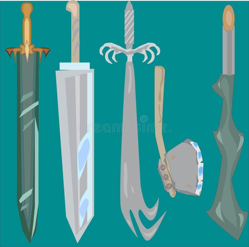 幻想中世纪剑集合 向量例证