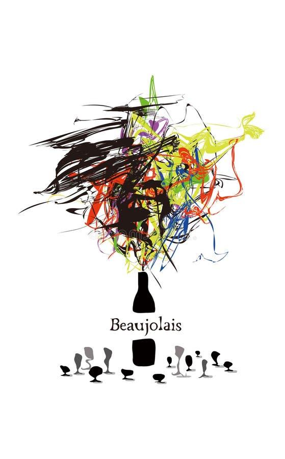 幻想博若莱红葡萄酒 皇族释放例证