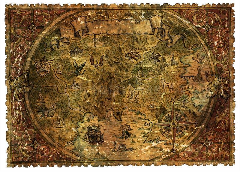 幻想土地海盗地图有龙和美人鱼的 库存例证