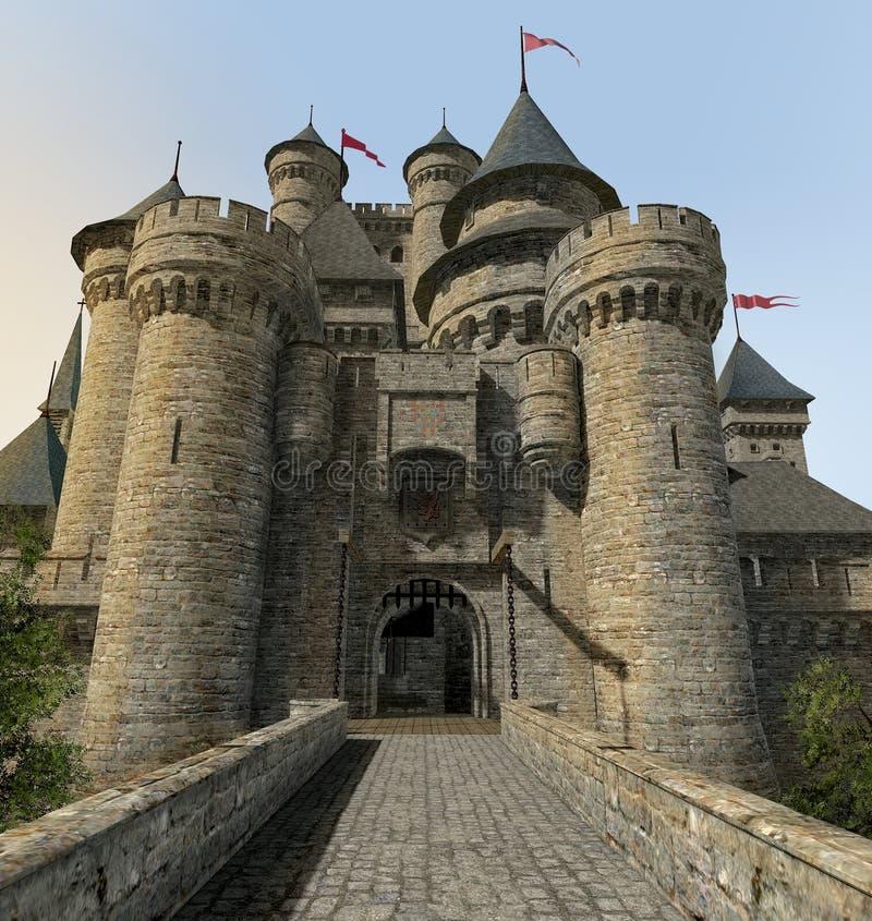 幻想城堡门桥梁 库存例证