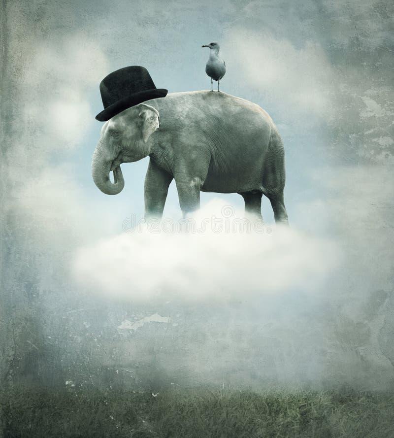 幻想大象飞行 库存图片