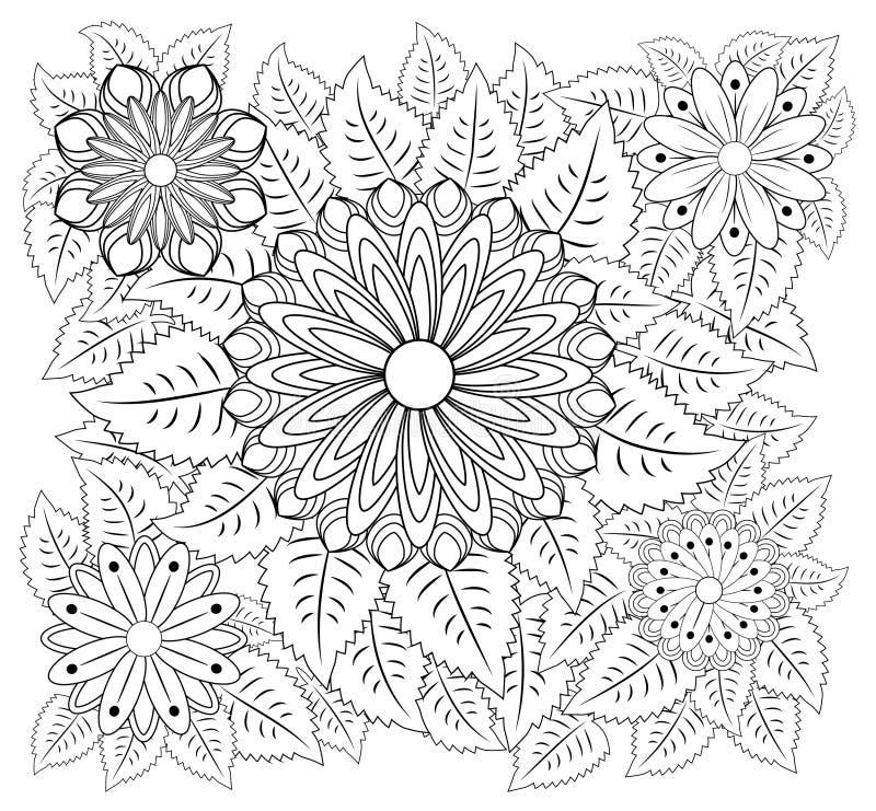 幻想开花着色页 手拉的乱画 花卉被仿造的例证 非洲,印地安语,图腾,部族, zentangle设计 皇族释放例证