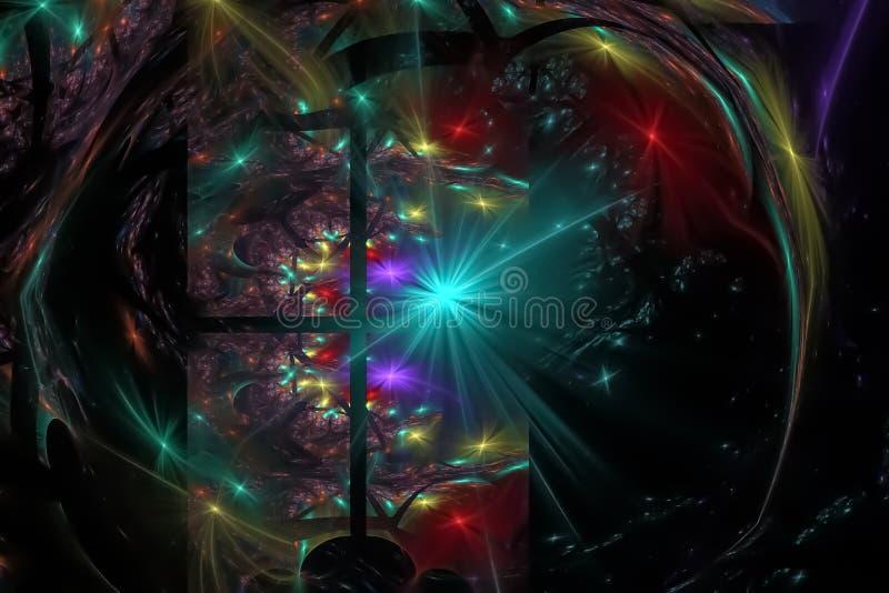 幻想摘要曲线作用爆炸闪闪发光想象力分数维,发光的背景图表数字未来派 皇族释放例证