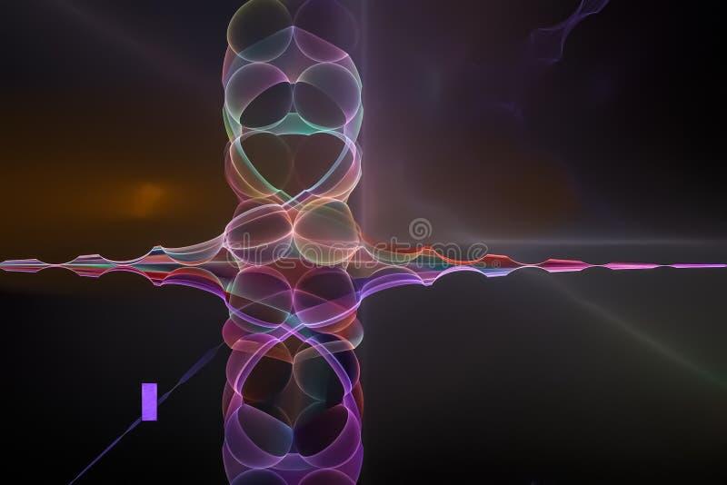 幻想摘要曲线美好的闪闪发光科学想象力分数维,发光的背景图表数字未来派 向量例证