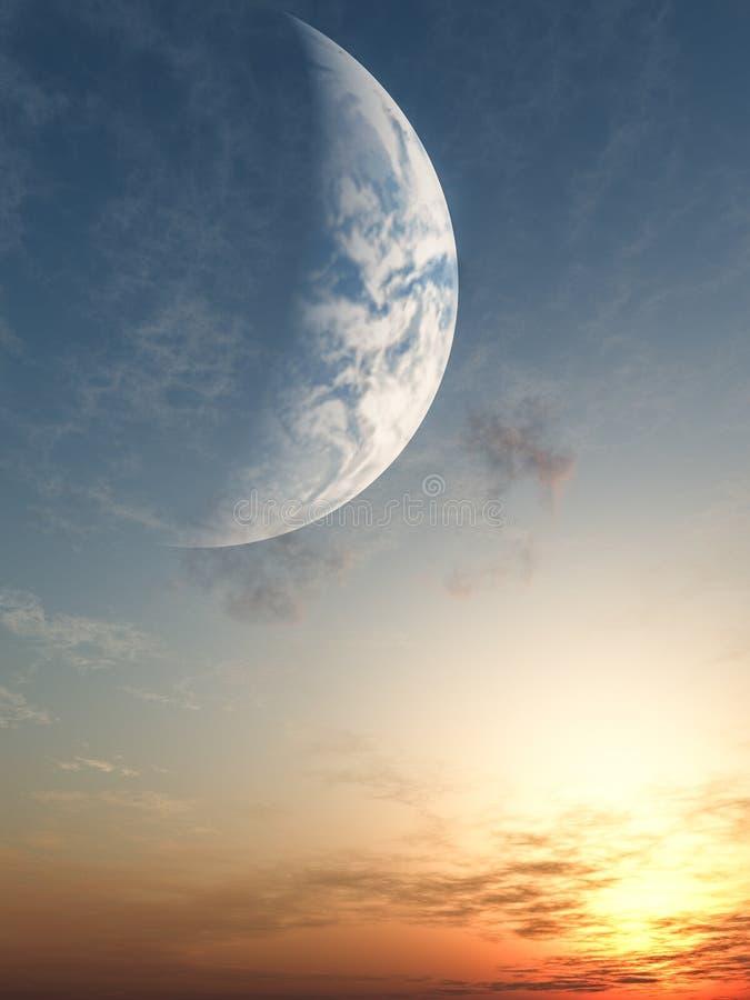 幻想日落 向量例证