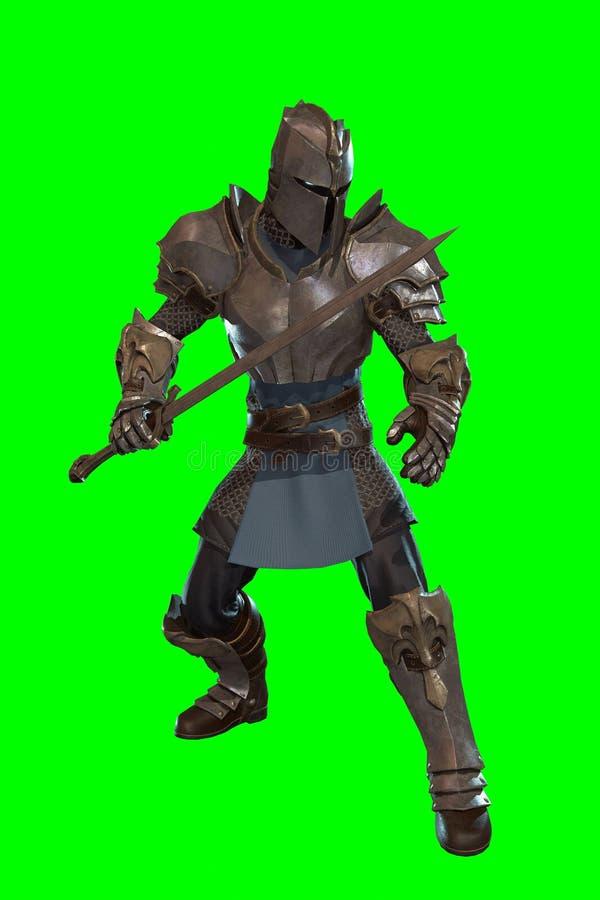 幻想有剑的3d字符骑士 向量例证