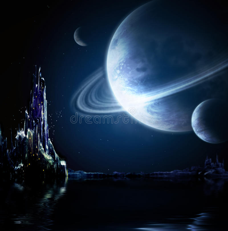 幻想横向行星 向量例证