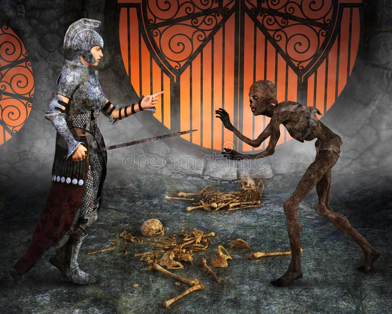 幻想科幻,罪恶,争斗 向量例证