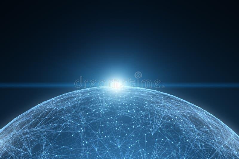 幻想网络与阳光的数据球形 向量例证