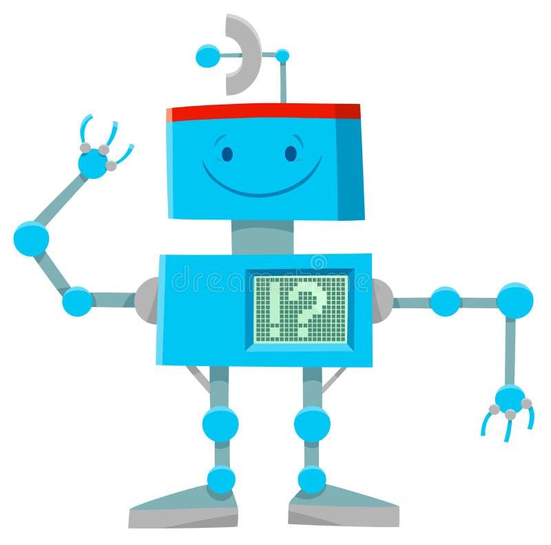 幻想蓝色机器人或droid卡通人物 皇族释放例证