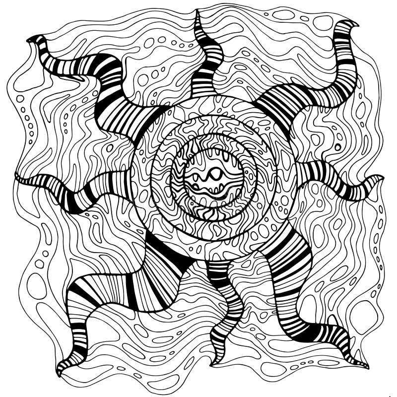 幻想装饰品超现实的花上色页线艺术 r 传染媒介手拉antistress 向量例证