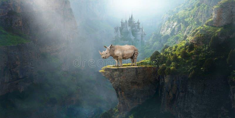 幻想超现实的犀牛,犀牛,野生生物 免版税图库摄影